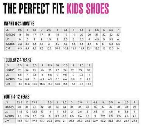 Kids Shoe Size Conversion Chart